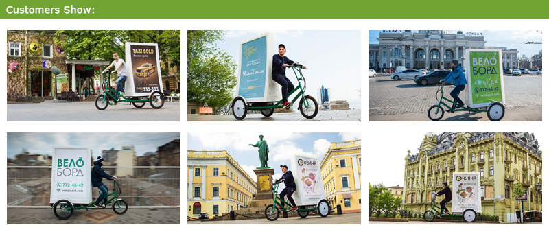 outdoor led light advertising bike can provide banners on the bike. Used to music publicity, advertising company, logo propaganda, tourism advertising, you can ride a bicycle wheel advertising to go anywhere.