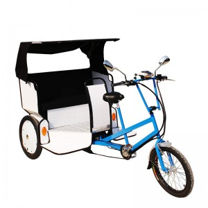 Taking the traditional rickshaw concept to its most practical end, MAXI Taxi is a modern take on an age-old transport solution. This pedicab carries two adult passengers in a comfortable and roomy carriage and features a lift-up seat for convenient luggage stowage. MAXI Taxi can be easily adapted to carry advertising billboards or signs on all areas of the aluminium carriage. Trisled's front-end drive steering geometry makes this rickshaw one of the most manoeuvrable on the market, allowing riders to navigate tight spaces and city streets. Trisled rickshaws are also available for hire.