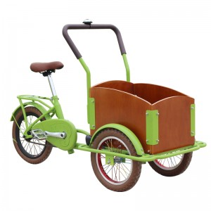 The kids cargo bike for sale, it is a candy color kids cargo bike, suitable for children aged 4 to 12, security is very good. kids can ride the bike to look for a friend, to play games.