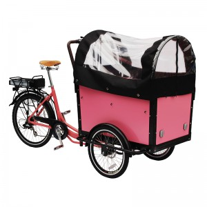 Electric bicycle bakfiets bike.Electric bakfiets cargo bike is the sleek three-wheel version of the Dutch cargo bike. It is a modern, stylish and convenient way to transport young children around ...