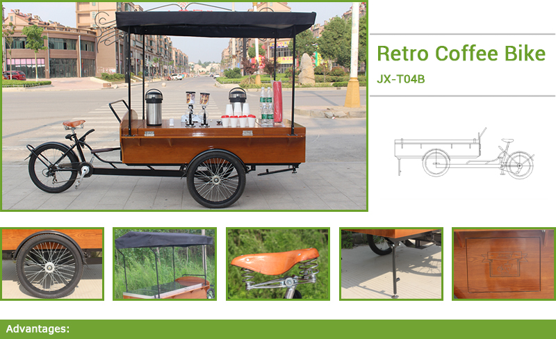 Many people want to sell lemonade coffee hot dogs on the side of the road.We can design a mobile coffee house, bike, used on the side of the road in the school in any place you want to go to sell things.