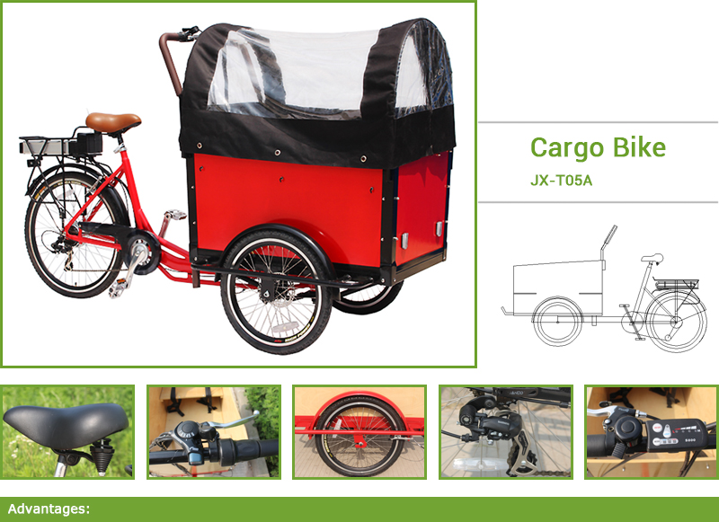 Electric bakfiets cargo bike.Electric bakfiets cargo bike is the sleek three-wheel version of the Dutch cargo bike. It is a modern, stylish and convenient way to transport young children around ...