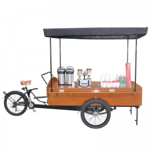 Coffee bike shop can sell things like fruit 、coffee、 hot dogs .You can go to any place to sell and ride the coffee bike shop is very convenient.