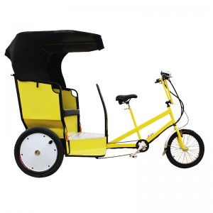 This pedicab carries two adult passengers in a comfortable and roomy carriage and features a lift-up seat for convenient luggage stowage.pedicab for sale in perfect condation.