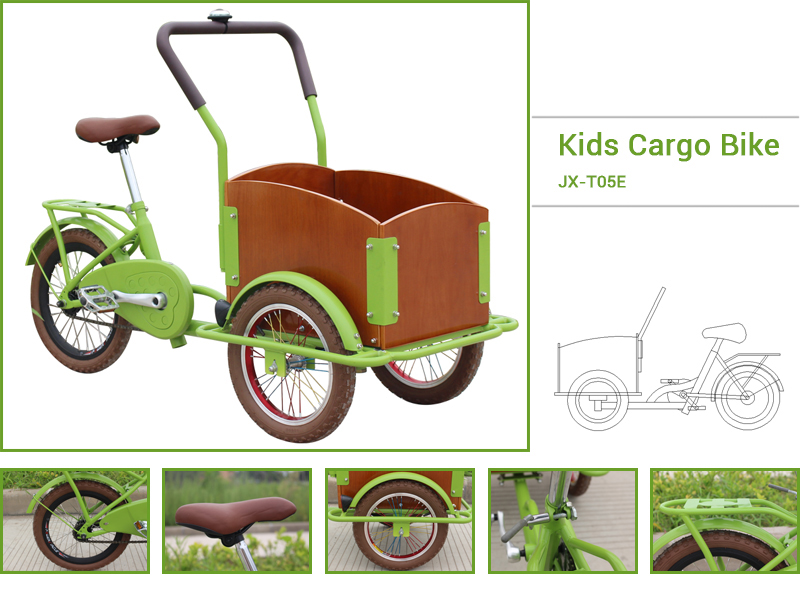 Children cargo bike for sale, it is a candy color children cargo bike, suitable for children aged 4 to 12, security is very good. Children can ride the bike to look for a friend, to play games.