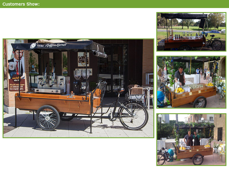 This is a special offer the convenience of the coffee bike to sell coffee, you can also sell cold drinks, foods, and so on.The coffee bike, there are a lot of bike purposes.