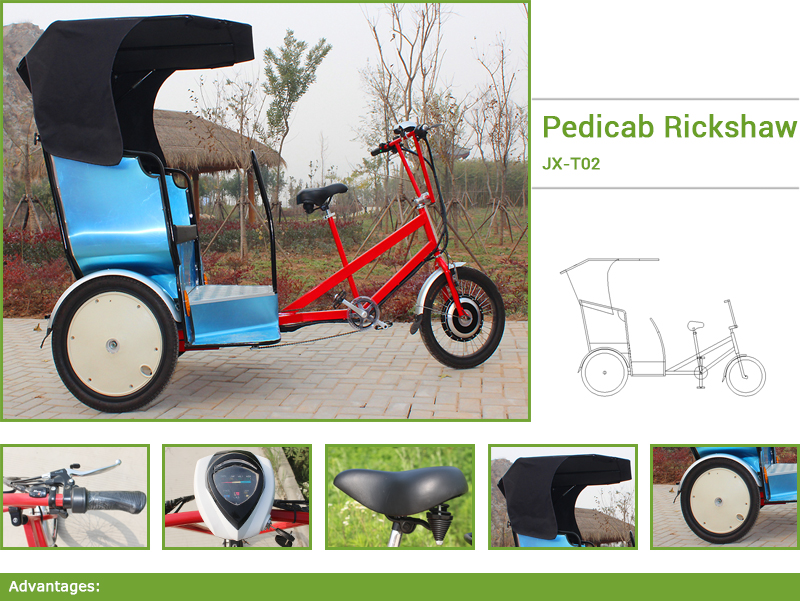 motorized rickshaw,jxcycle classic rickshaw pedicab is a human pedal-powered public passenger vehicle used to transport passengers for hire. Our classic rickshaw pedicab have provided services to cultural events, private functions and weddings.