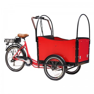 wooden box cargo bike.cargo bicycle Can carry up to four children in the box, the extra bench is required,Children are safely secured in the box with belts.